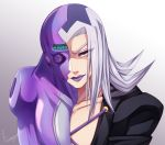 1boy grey_hair highres jojo_no_kimyou_na_bouken leone_abbacchio lipstick long_hair makeup moody_blues_(stand) purple_lipstick ren_ayume solo stand_(jojo) vento_aureo