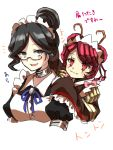 2girls antennae bangs bow bowtie collarbone dullahan entoma_vasilissa_zeta eyebrows_visible_through_hair frills glasses grey_eyes hair_between_eyes hand_up highres insect_girl japanese_clothes long_hair long_sleeves maid maid_headdress monster_girl multiple_girls ofuda_on_clothes open_mouth overlord_(maruyama) smile user_dznz5583 wide_sleeves yuri_alpha