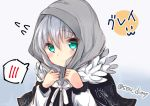 1girl bangs black_capelet blue_background blush capelet closed_mouth commentary_request eyebrows_visible_through_hair fate_(series) flying_sweatdrops gradient gradient_background gray_(lord_el-melloi_ii) green_eyes grey_hair hair_between_eyes hood hood_down long_sleeves looking_at_viewer lord_el-melloi_ii_case_files purple_background smile solo sou_(soutennkouchi) spoken_blush translated twitter_username