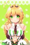 1girl ahoge bangs bare_shoulders black_neckwear blonde_hair blush braid breasts brown_sleeves clenched_hands closed_mouth collared_dress commentary_request copyright_request detached_sleeves dress eyebrows_visible_through_hair flower goggles goggles_on_head green_background green_eyes hair_between_eyes hair_flower hair_ornament hands_up haru_ichigo heart heart_ahoge heart_background highres lace_border large_breasts long_hair long_sleeves looking_at_viewer navel navel_cutout necktie short_necktie single_braid sleeveless sleeveless_dress smile solo upper_body very_long_hair white_dress white_flower