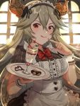1girl :p alternate_costume apron bow bowtie commentary cookie draph enmaided food food_on_finger granblue_fantasy grey_hair gyoju_(only_arme_nim) highres horns long_hair looking_at_viewer maid maid_apron maid_dress maid_headdress parfait red_eyes short_sleeves solo thalatha_(granblue_fantasy) tongue tongue_out tray wrist_cuffs