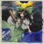 1girl arm_cannon bangs bird_wings black_hair blouse breasts cape eclipse hair_bow highres long_hair looking_at_viewer puffy_short_sleeves puffy_sleeves red_eyes short_sleeves skirt smile sun third_eye touhou traditional_art weapon white_cape white_shirt wings yuurenkyouko
