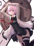 1girl arms_up black_dress black_legwear black_panties breasts crotch_seam dress fate/grand_order fate_(series) grey_jacket highres holding_shield jacket kind1516 lavender_hair long_sleeves looking_at_viewer mash_kyrielight medium_breasts necktie open_clothes open_jacket panties parted_lips red_neckwear shield short_hair sidelocks sleeveless sleeveless_dress solo thigh-highs thigh_strap underwear violet_eyes wing_collar
