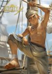 1boy abs absurdres artist_name barefoot beitemian boat brown_eyes brown_hair dagger day dirty dirty_clothes dirty_face english_text feet highres huge_filesize jewelry male_focus navel necklace nipples original outdoors pirate sanpaku shade ship shirtless sweat watercraft weapon