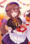 1girl alternate_costume alternate_hairstyle animal_ears bat beret birthday_cake blush cake character_doll dog_ears dog_girl dog_tail fang food halloween hat highres hololive inugami_korone looking_at_viewer medium_hair nekomata_okayu open_mouth pumpkin red_eyes short_twintails solo tail twintails virtual_youtuber witch_hat
