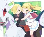 1boy 1girl backpack bag blonde_hair brother_and_sister closed_mouth gen_7_pokemon gladio_(pokemon) green_eyes hair_over_one_eye lillie_(pokemon) long_hair long_sleeves moyori one_eye_closed open_mouth pants pokemon pokemon_(creature) pokemon_(game) pokemon_sm ponytail riding_pokemon shirt short_hair short_sleeves siblings silvally skirt smile torn_clothes torn_pants white_shirt white_skirt