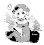 1girl ? aki_minoriko blush bow breasts buttons commentary dress food frills fruit grapes greyscale hat hat_ornament kneeling large_breasts leaf leaf_background mob_cap monochrome open_mouth short_hair solo spoken_question_mark tanasuke touhou wheat white_background wide_sleeves