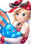 1girl :d azumarill bettle_(b_s_a_n) black_eyes blue_eyes gen_2_pokemon hat highres holding holding_pokemon looking_at_viewer medium_hair open_mouth pokemon pokemon_(creature) red_headwear simple_background smile standing virtual_youtuber white_background wrist_cuffs yatterman