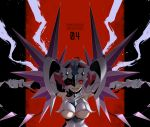 1girl ahoge breasts commentary_request grin hal-bard highres large_breasts lavender_hair looking_at_viewer low_twintails nefushutan_no_yoroi outstretched_arms parted_lips pauldrons red_eyes senki_zesshou_symphogear shoulder_spikes smile solo spikes teeth twintails underboob_cutout visor whip yukine_chris