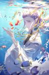 1boy absurdres air_bubble ao_bing blurry_foreground bubble byuey chinese_clothes clownfish day fish highres horns lavender_hair long_hair male_focus ne_zha_(2019_movie) outdoors pointy_ears school_of_fish sidelocks solo sunlight tropical_fish underwater violet_eyes wide_sleeves