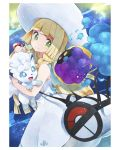 1girl 2others alolan_form alolan_vulpix animal bag blonde_hair braid closed_mouth cosmog creatures_(company) dress duffel_bag female fox from_side game_freak gen_1_pokemon gen_7_pokemon genderless green_eyes hat holding holding_poke_ball holding_pokemon human lillie_(pokemon) long_hair looking_back nintendo olm_digital poke_ball poke_ball_theme pokemon pokemon_(anime) pokemon_(creature) pokemon_(game) pokemon_sm pokemon_sm_(anime) rainys_bill sleeveless sleeveless_dress smile sun_hat tv_tokyo twin_braids white_dress white_headwear