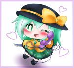 1girl ;d ankle_boots black_footwear black_headwear blouse blush boots border bright_pupils chibi commentary eyebrows_visible_through_hair frilled_sleeves frills green_eyes green_hair green_skirt hair_between_eyes hat hat_ribbon heart heart_of_string holding holding_knife holding_phone knife komeiji_koishi looking_at_viewer one_eye_closed open_mouth phone purple_border ribbon shadow short_hair simple_background skirt sleeves_past_fingers sleeves_past_wrists smile solo standing third_eye touhou white_background white_pupils yairenko yellow_blouse