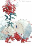 1boy blood bloody_clothes blue_eyes bug butterfly collared_shirt copyright_name cuts ekita_xuan flower highres injury insect light_smile long_sleeves looking_at_viewer lying neck_tattoo norman_(yakusoku_no_neverland) on_side one_eye_covered overgrown parted_lips portrait red_flower shirt smile solo tattoo white_background white_hair white_shirt yakusoku_no_neverland