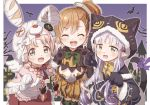 3girls akane_mimi alternate_costume animal_ears animal_hat animal_hood bandages blush braid cat_ears closed_eyes commentary_request hair_ornament halloween hat hikawa_kyoka hodaka_misogi hood long_hair looking_at_viewer low_twintails midriff multiple_girls navel open_mouth orange_hair paws pink_hair pointy_ears princess_connect! princess_connect!_re:dive purple_hair ribbon short_hair side_ponytail twin_braids twintails yukie_(kusaka_shi)