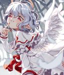 1girl angel_wings capelet commentary_request curly_hair dress feathered_wings feathers fingernails halo head_tilt long_fingernails long_sleeves looking_at_viewer looking_to_the_side pointy_ears red_eyes red_nails remilia_scarlet satomachi short_hair silver_hair solo touhou white_dress wings