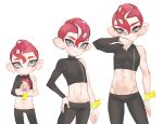 3boys age_progression blue_eyes blush eyebrows hair_between_eyes jtveemo makeup mascara midriff multiple_boys navel octoling redhead simple_background splatoon_(series) splatoon_2 splatoon_2:_octo_expansion tentacle_hair white_background