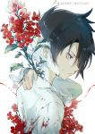 1boy bad_anatomy black_hair blood bloody_clothes bug butterfly butterfly_on_hand butterfly_on_shoulder closed_mouth collared_shirt copyright_name cuts ekita_xuan flower frown hand_on_own_neck highres injury insect long_sleeves looking_at_viewer male_focus overgrown profile ray_(yakusoku_no_neverland) red_flower shirt solo upper_body white_background white_shirt yakusoku_no_neverland