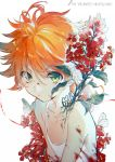 1girl bangs bare_shoulders blood bloody_clothes bug butterfly copyright_name cuts ekita_xuan emma_(yakusoku_no_neverland) flat_chest flower green_eyes hair_between_eyes highres injury insect looking_at_viewer neck_tattoo orange_hair overgrown plant red_flower shirt short_hair sleeveless solo spaghetti_strap tattoo upper_body white_background white_shirt yakusoku_no_neverland