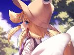 1girl bangs blonde_hair blue_eyes blue_sky blurry blurry_background breasts brown_headwear commentary_request day eyebrows_visible_through_hair from_side hair_ribbon ibuki_notsu long_sleeves looking_at_viewer medium_breasts moriya_suwako outdoors profile purple_vest red_ribbon ribbon shirt short_hair sidelocks sky smile solo touhou tree upper_body vest white_shirt wide_sleeves