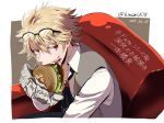 1boy artist_name bangs blonde_hair brown_eyes character_request collarbone commentary_request dated eating fang fate/grand_order fate_(series) food glasses hair_between_eyes hamburger holding holding_food shirt short_hair simple_background solo translation_request white_shirt zassou_(ukjpn)