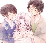 1girl 2boys ^_^ black_hair blush closed_eyes closed_mouth comforting commentary_request extra facial_mark family floral_print hand_on_another's_hand haori happy highres japanese_clothes kimetsu_no_yaiba kimono knees_up koame_1027 long_sleeves medium_hair multiple_boys obi parted_lips rui_(kimetsu_no_yaiba) sash simple_background smile tears tied_hair uniform upper_body violet_eyes white_background white_hair