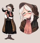 1girl bags_under_eyes bangs bloodborne blush bonnet boots brown_dress cape closed_mouth cravat dress flower from_software highres parted_bangs plain_doll raburine red_neckwear slug smile solo standing thick_eyebrows white_hair yellow_eyes