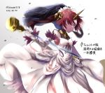 1girl artist_name bare_shoulders blue_eyes breasts commentary_request dated dress fate/grand_order fate_(series) frankenstein's_monster_(fate) hair_ornament hair_over_one_eye holding holding_weapon horn medium_breasts pink_hair short_hair solo translation_request weapon white_dress zassou_(ukjpn)