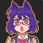 1girl animal_ears black_background blue_hair bow bowtie collared_shirt eyebrows glasses hcnone looking_at_viewer open_mouth original pink_eyes pixel_art red_bow red_neckwear shirt short_hair simple_background skye_(hcnone) solo upper_body white_shirt wolf_ears