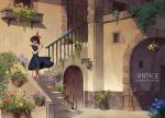 1girl bangs bare_shoulders black_dress blue_flower blunt_bangs blush bow brown_eyes brown_hair closed_mouth door dress flower holding holding_flower kiki majo_no_takkyuubin orange_flower outdoors pink_flower plant potted_plant purple_flower railing red_bow red_flower short_hair smile solo standing studio_ghibli white_flower yusheng