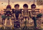 4boys backpack bag baseball_cap black_hair brown_hair cardigan collared_shirt dusk fang full_body glasses gloves hat jacket kneehighs loafers looking_at_viewer male_focus multiple_boys noeyebrow_(mauve) original outdoors randoseru science_fiction shirt shoes shorts sneakers socks sunset v white_shirt