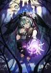 1girl black_nails boots castle ghost green_eyes green_hair halloween hatsune_miku highres jewelry knee_boots long_hair misoni_comi nail_polish night open_mouth outdoors outstretched_arm pantyhose ring skirt solo torn_clothes torn_legwear twintails very_long_hair vocaloid