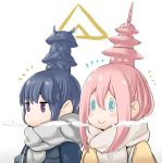 2girls :> alternate_hairstyle aqua_eyes bag bangs blue_hair blush_stickers breath closed_mouth hair_between_eyes kagamihara_nadeshiko mimit multiple_girls no_mouth pagoda pink_hair scarf shima_rin shoulder_bag simple_background smile symbol_commentary upper_body violet_eyes white_background yurucamp