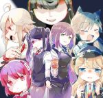 6+girls ahoge alternate_costume android animal_ears artist_request back-to-back bartender cat_ears cigarette closed_eyes crying cup dana_zane dorothy_haze drinking_glass girls_frontline hat highres idw_(girls_frontline) jill_stingray m1903_springfield_(girls_frontline) multiple_girls nyto_mercurows_(girls_frontline) police_hat smoking super_shorty_(girls_frontline) va-11_hall-a wine_glass