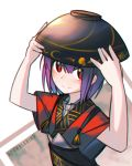 1girl artist_name bowl bowl_hat hat japanese_clothes kky looking_at_viewer purple_hair red_eyes short_hair smile solo sukuna_shinmyoumaru touhou upper_body white_background