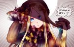 1girl abigail_williams_(fate/grand_order) bangs black_bow black_dress black_headwear black_neckwear blonde_hair blue_eyes bow commentary_request dress eyebrows_visible_through_hair eyes_visible_through_hair fate/grand_order fate_(series) hair_bow hat long_hair looking_at_viewer multiple_bows orange_bow orange_neckwear parted_bangs shaded_face sleeves_past_wrists solo zassou_(ukjpn)