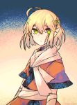 1girl ahoge artist_name bandaged_arm bandages blonde_hair green_eyes kky looking_at_viewer mizuhashi_parsee pointy_ears short_hair solo touhou two-tone_background upper_body