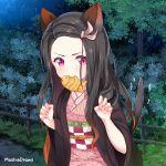 1girl animal_ears asa_no_ha_(pattern) blush cat_ears cat_tail claw_pose fence fingernails food_in_mouth forehead forest hanafuda haori highres japanese_clothes kamado_nezuko kimetsu_no_yaiba kimono looking_at_viewer madmoshie mouth_hold multicolored_hair nature night night_sky obi pink_eyes pink_kimono pink_ribbon ribbon sash sharp_fingernails sky solo tail tree
