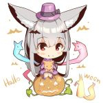 1girl animal_ear_fluff animal_ears bangs bat_hair_ornament black_bow blush_stickers bow chibi closed_mouth commentary_request eyebrows_visible_through_hair fang fang_out fox fox_ears fox_girl fox_tail hair_between_eyes hair_ornament halloween hat hat_bow jack-o'-lantern japanese_clothes kimono kneehighs long_hair long_sleeves no_shoes original purple_headwear purple_kimono silver_hair simple_background sitting smile solo spirit striped striped_legwear tail very_long_hair white_background wide_sleeves yuuji_(yukimimi)