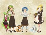 3girls alolan_form alolan_vulpix alternate_costume alternate_hairstyle apron blue_eyes blue_hair bow closed_mouth dark_skin eevee flower food gen_1_pokemon gen_7_pokemon glass green_eyes green_hair hair_bow hair_flower hair_ornament hairband holding holding_plate lillie_(pokemon) long_hair long_sleeves maid mao_(pokemon) multiple_girls one_eye_closed open_mouth plate pokemon pokemon_(anime) pokemon_(creature) pokemon_sm_(anime) sasairebun smile suiren_(pokemon) tsareena twintails wide_sleeves
