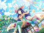 blue_eyes dress easter easter_egg hat kochou_shizuha long_hair purple_hair shoujo_kageki_revue_starlight smile