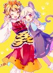 2girls :d ;d animal_ears animal_print apron black_hair black_ribbon black_skirt black_vest blonde_hair blue_capelet blush capelet claw_pose commentary_request eyebrows_visible_through_hair facing_viewer fang fangs flower frilled_apron frills grey_hair hair_flower hair_ornament hand_up highres jewelry long_sleeves lotus mouse_ears mouse_tail multicolored_hair multiple_girls nazrin nig_18 one_eye_closed open_mouth orange_eyes pants paw_print pendant red_eyes red_skirt red_vest ribbon shirt short_hair skirt smile socks star star-shaped_pupils symbol-shaped_pupils tail tiger_ears tiger_print tiger_tail toramaru_shou touhou vest waist_apron white_legwear white_pants white_shirt yellow_background