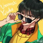 1boy artist_name brown_eyes character_name fangs green_jacket hair_down hichi(hichi) jacket looking_at_viewer male_focus plaid short_hair solo sunglasses teeth tongue tongue_out upper_body urameshi_yuusuke yuu_yuu_hakusho