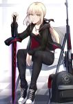 1girl artoria_pendragon_(all) backpack bag bangs black_camisole black_jacket black_pants black_ribbon blonde_hair breasts chair collarbone dark_excalibur fate/grand_order fate/stay_night fate_(series) gun highres jacket jewelry long_hair long_sleeves looking_at_viewer low_ponytail necklace open_clothes open_jacket pale_skin pants ribbon rifle saber_alter saber_alter_costume_ver._shinjuku_1999 shiguru shoes sitting slit_pupils small_breasts sneakers solo weapon white_background yellow_eyes
