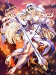 1girl ass ass_visible_through_thighs black_blindfold blindfold blonde_hair breasts bridal_gauntlets commission covered_eyes dress facing_viewer goblin_slayer! habit ikemura_hiroichi jewelry large_breasts long_hair necklace shiny shiny_hair shiny_skin sideless_outfit solo sword_maiden thighs torn_clothes white_dress