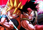 2boys armor back-to-back bandana bardock bird_studio black_hair black_legwear blonde_hair blue_eyes clenched_teeth dougi dragon_ball dragon_ball_z energy energy_ball facial_scar father_and_son fighting_stance floating floating_hair floating_rock frown grey_eyes kemachiku male_focus multiple_boys muscle open_mouth red_background red_bandana red_headwear scar scar_on_cheek shaded_face shueisha simple_background son_gokuu spiky_hair super_saiyan teeth toei_animation upper_body wristband