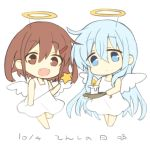 2girls alternate_costume angel angel_wings blue_eyes blue_hair brown_eyes brown_hair candle chibi dress fang full_body halo hibiki_(kantai_collection) hizuki_yayoi holding holding_wand ikazuchi_(kantai_collection) kantai_collection looking_at_viewer multiple_girls open_mouth short_hair simple_background skin_fang wand white_background white_dress wings