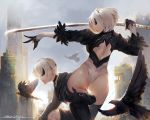 1boy 1girl artist_name ass back_cutout bandages bird black_blindfold black_gloves black_hairband blindfold dako6995 eyepatch feather-trimmed_sleeves flying gloves hairband highleg highleg_leotard highres juliet_sleeves kneeling leotard long_sleeves mole mole_under_mouth nier_(series) nier_automata parted_lips puffy_sleeves raven_(animal) ruins short_hair silver_hair sunlight sword thigh-highs thigh_grab thong_leotard weapon white_leotard yorha_no._2_type_b yorha_no._9_type_s