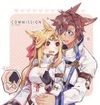 1boy 1girl animal_ears artist_name black_gloves blue_eyes blush breasts brown_hair commentary commission copyright_request facial_mark fingerless_gloves fox_ears gloves hair_between_eyes hair_ribbon heart hug jacket large_breasts long_hair looking_at_another open_mouth red_eyes red_ribbon ribbon rirene_rn short_hair uniform white_jacket
