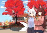 6+girls absurdres ahoge akagi_(azur_lane) akakiryu2m akashi_(azur_lane) albacore_(azur_lane) alternate_costume animal_ear_fluff animal_ears autumn autumn_leaves azur_lane bag bench binoculars blonde_hair blouse blue_eyes blue_sky brown_bag brown_hair casual cat_ears climbing_tree closed_mouth clouds collared_shirt commentary_request contemporary day eating food fox_ears fox_tail green_hair highres holding holding_bag holding_food huge_filesize in_tree jacket kaga_(azur_lane) kisaragi_(azur_lane) kyuubi long_hair long_sleeves meowfficer_(azur_lane) multiple_girls multiple_tails mutsuki_(azur_lane) mutsuki_face outdoors pink_hair platinum_blonde_hair polo_shirt red_eyes redhead san_diego_(azur_lane) shade shirt short_hair shoukaku_(azur_lane) sitting sky smile sweet_potato tail tree tree_branch tree_shade trial_bullin_mkii_(azur_lane) universal_bullin_(azur_lane) white_hair yuudachi_(azur_lane)