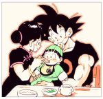 1girl 2boys baby bangs black_dress black_eyes black_hair black_shirt blunt_bangs blush blush_stickers border bowl bracelet broccoli carrying chair chi-chi_(dragon_ball) china_dress chinese_clothes commentary_request cup dragon_ball dragon_ball_(object) dress family father_and_son feeding fingernails food hair_bun happy hat holding holding_spoon jewelry looking_at_another looking_down monkey_tail mother_and_son multiple_boys outline pine_(pi_ne_t) plate profile rice shiny shiny_hair shirt short_sleeves simple_background sitting smile son_gohan son_gokuu spiky_hair spoon spoon_in_mouth table tail tied_hair upper_body white_background white_border wide-eyed younger